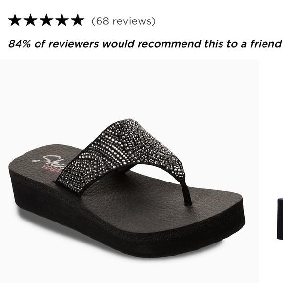 Yoga Foam Black Bling T Wedge Sandal